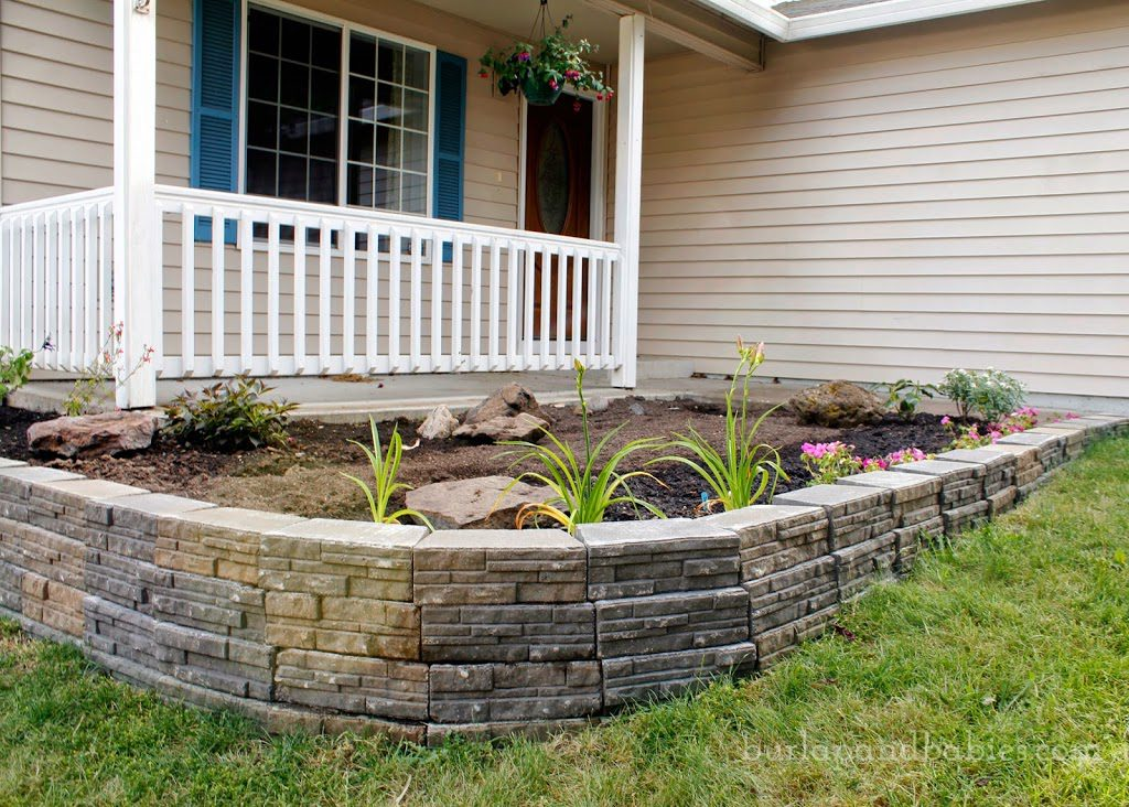 Completed DIY retaining wall
