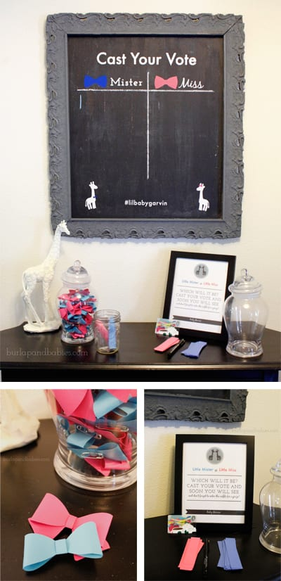 Gender reveal party chalkboard and pink and blue bows image.