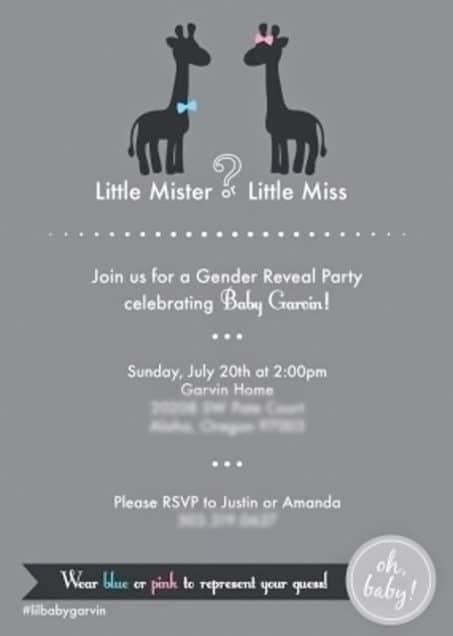 Invitation for a gender reveal party image.