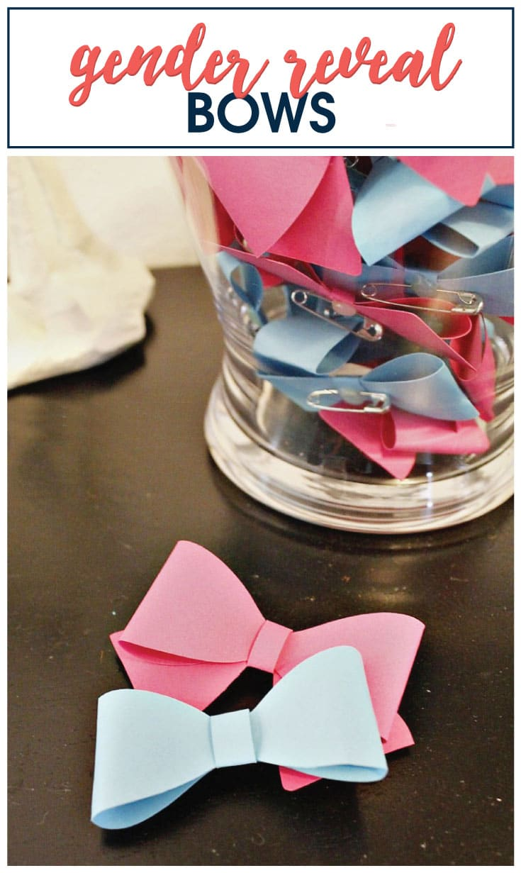 DIY Gender Reveal Pins and Bows image.
