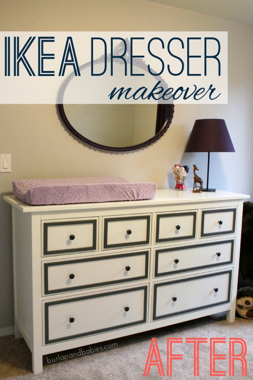 Hemnes IKEA dresser with a mirror and lamp image.