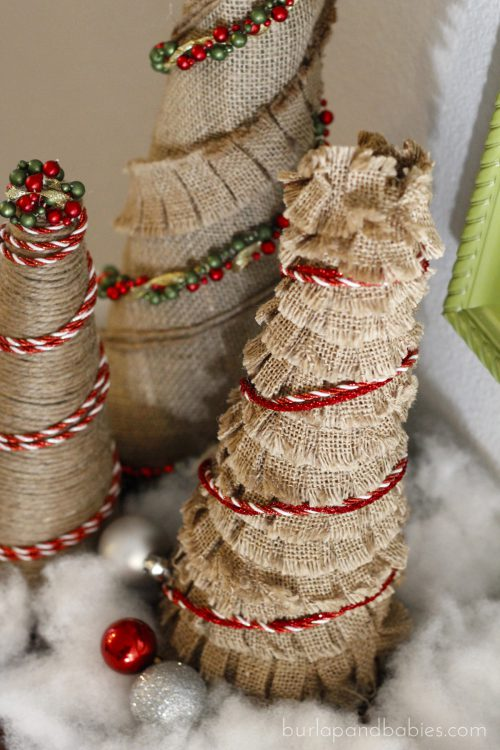 Burlap Christmas Trees with red trim image.