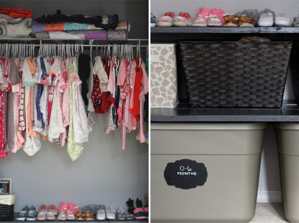 Baby clothes in closet and bins image.