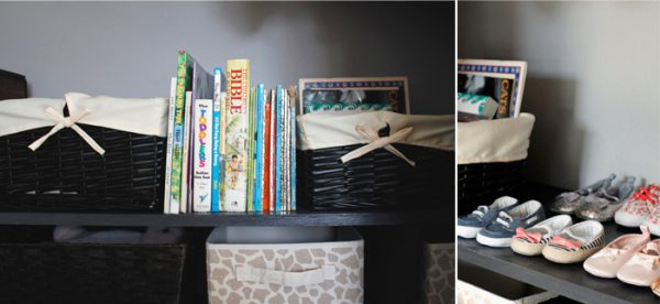 Baby books, bins and shoes on a shelf image.