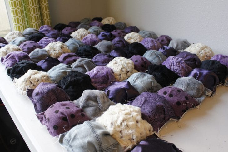 Purple puff quilt ready to be finished image.