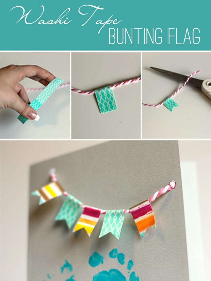 Create a super easy bunting flag using washi tape and twine. Perfect to cuterize pretty much anything!