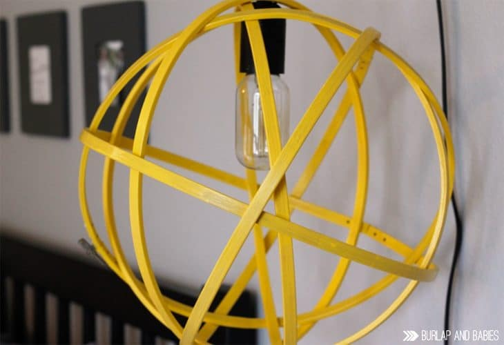 Orb Hanging Light   Create a fun hanging light using embroidery hoops and some paint! Click for tutorial!