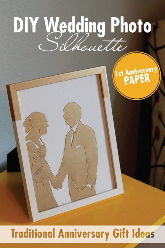Create this DIY Wedding Picture Silhouette for a traditional first anniversary gift using paper!   Anyone can make a stunning silhouette using one of your favorite wedding photos and an exacto knife. Find out how to make it here + 10 additional paper gift ideas!
