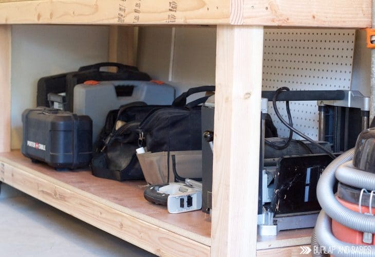 Rolling workbench with tools image.