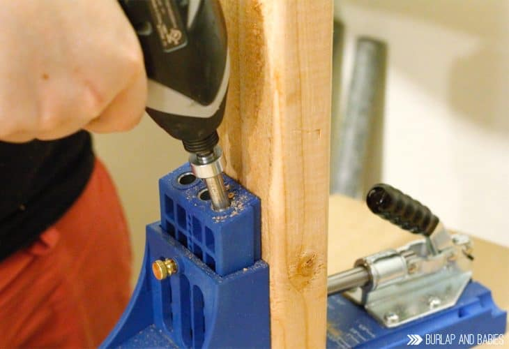 Drilling into wood image to building a workbench
