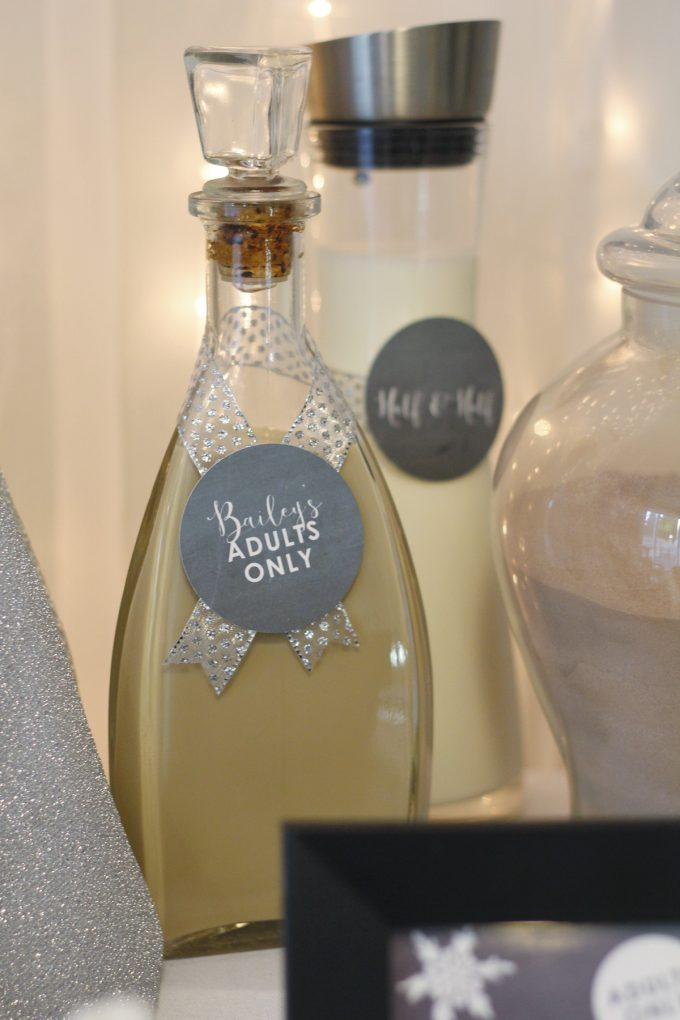 Hot chocolate bar party favors - Bailey's Irish Cream in a bottle with an adult's only label image.