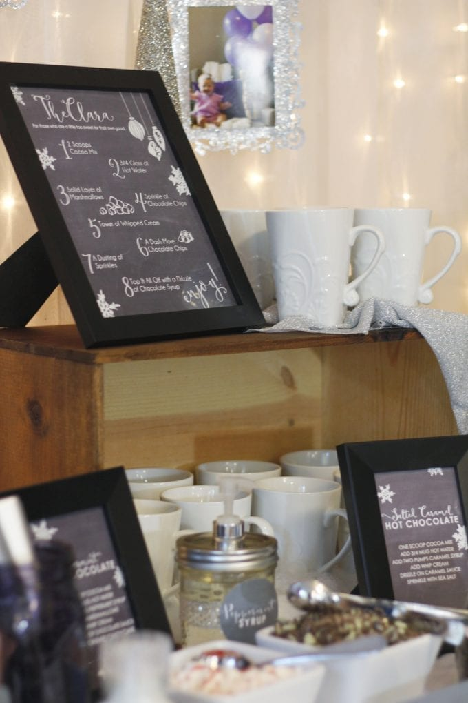 Hot chocolate bar sign printable in a frame image.