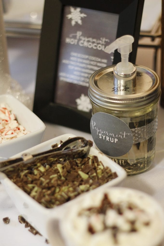 Hot chocolate bar party favors featuring peppermint syrup image.