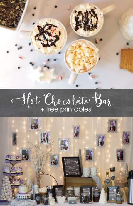 A Winter Wonderland Hot Chocolate Bar complete with FREE chalkboard labels, hot chocolate recipe cards, and lots of DIY hot chocolate bar ideas. Such a cute idea!