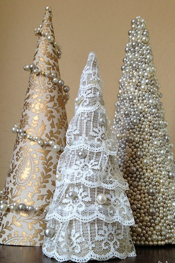 Mini Christmas Trees covered in lace and pearls image.