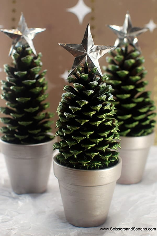 Painted pine cone Christmas trees image.