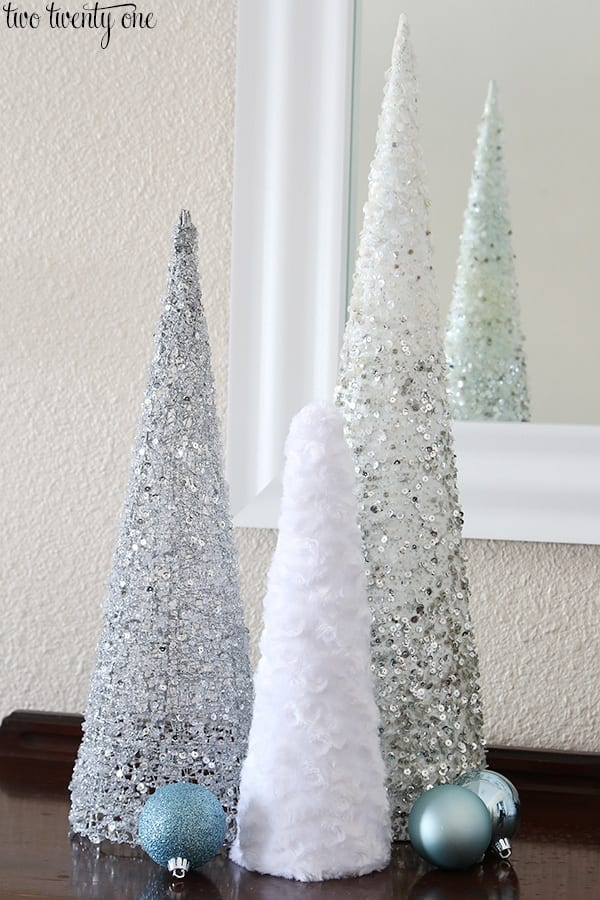 Sparkly and fuzzy Mini Christmas Trees image.