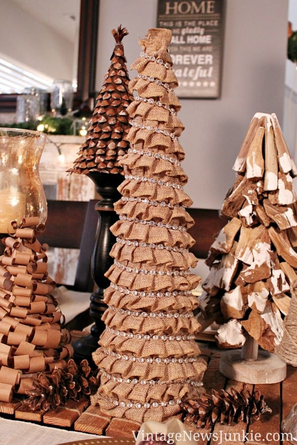 Mini Christmas trees made from burlap image.