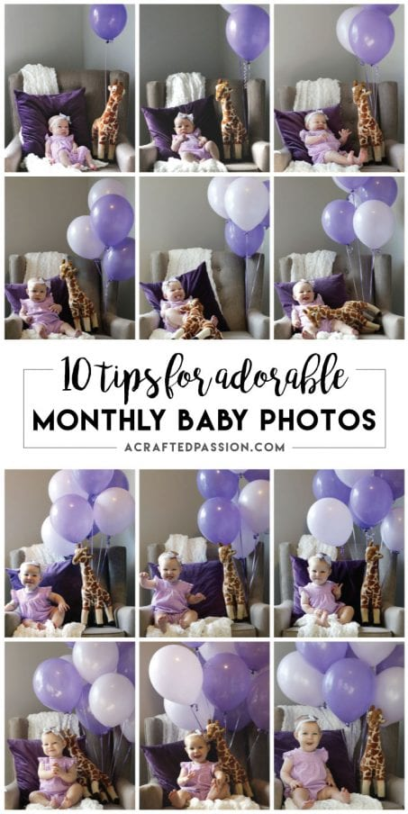 10 Tips for taking adorable monthly baby photos to document your precious little one's growth that first year of life.