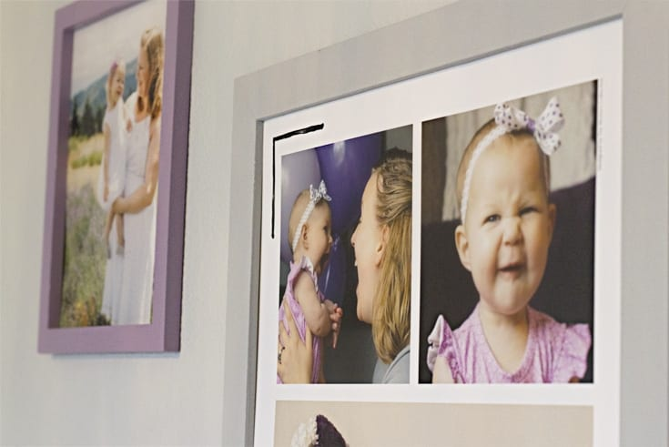 Gallery wall with pictures in frames image.