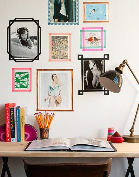 Washi tape frames on a wall image.