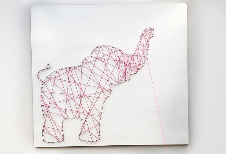 Placing strings inside the elephant image.