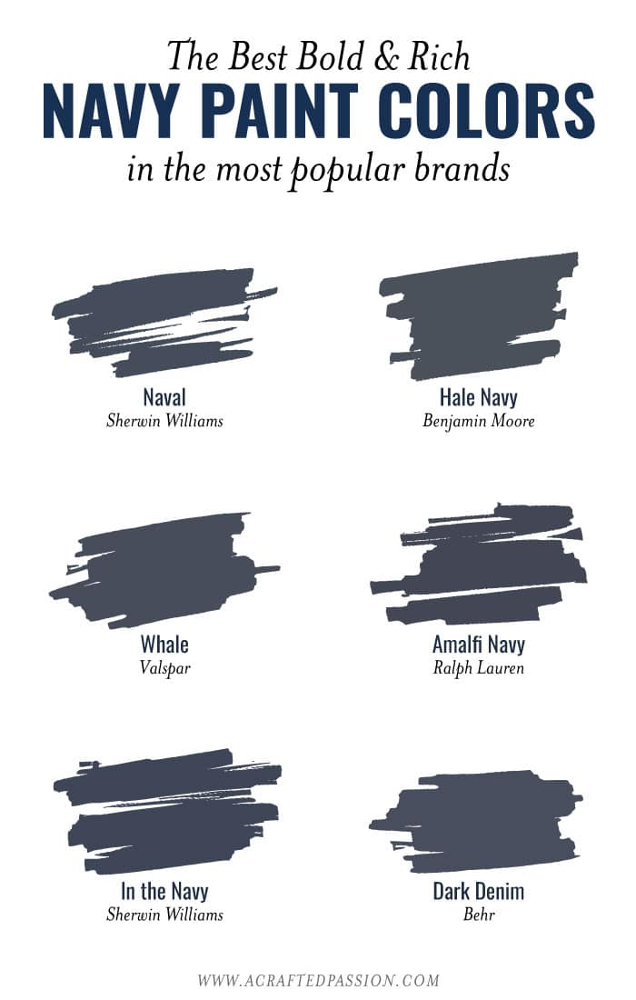 The best navy paint colors from popular brands image.