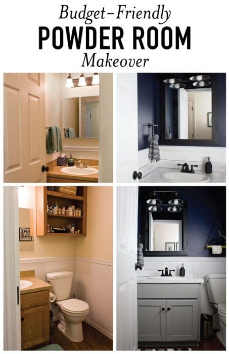 This moody and dark bathroom makeover reveal is STUNNING! Between the navy wall color, updated mirror, faux countertops, and matte black accessories, this whole small powder room turned out amazing.