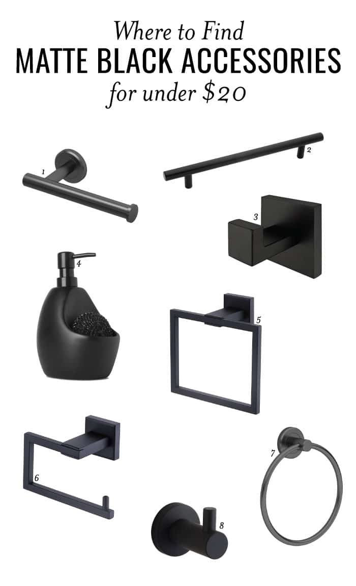 Matte black is all the rage and I'm totally into it! Here are some great options for your bathroom fixtures on a budget. Get these matte black accessories for UNDER $20!