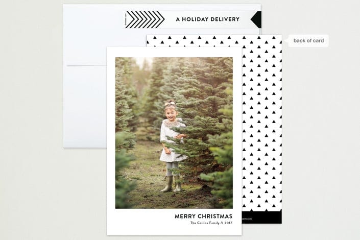 Bacl and white pattern for the modern Christmas card ideas image.