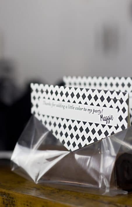 Black and white birthday party favors