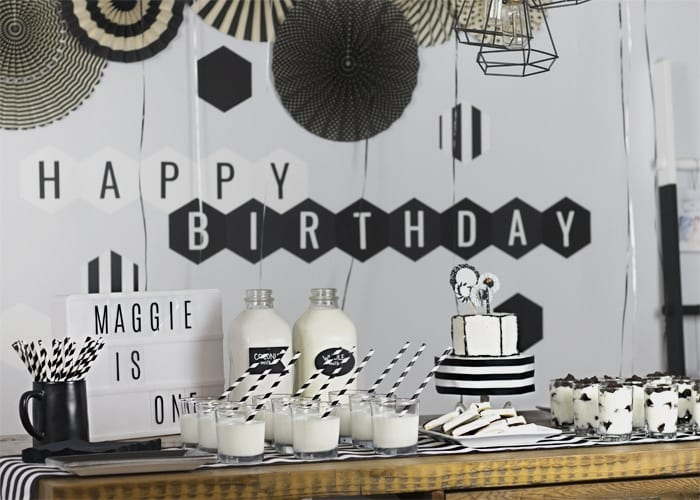 Black and white birthday party dessert table decor