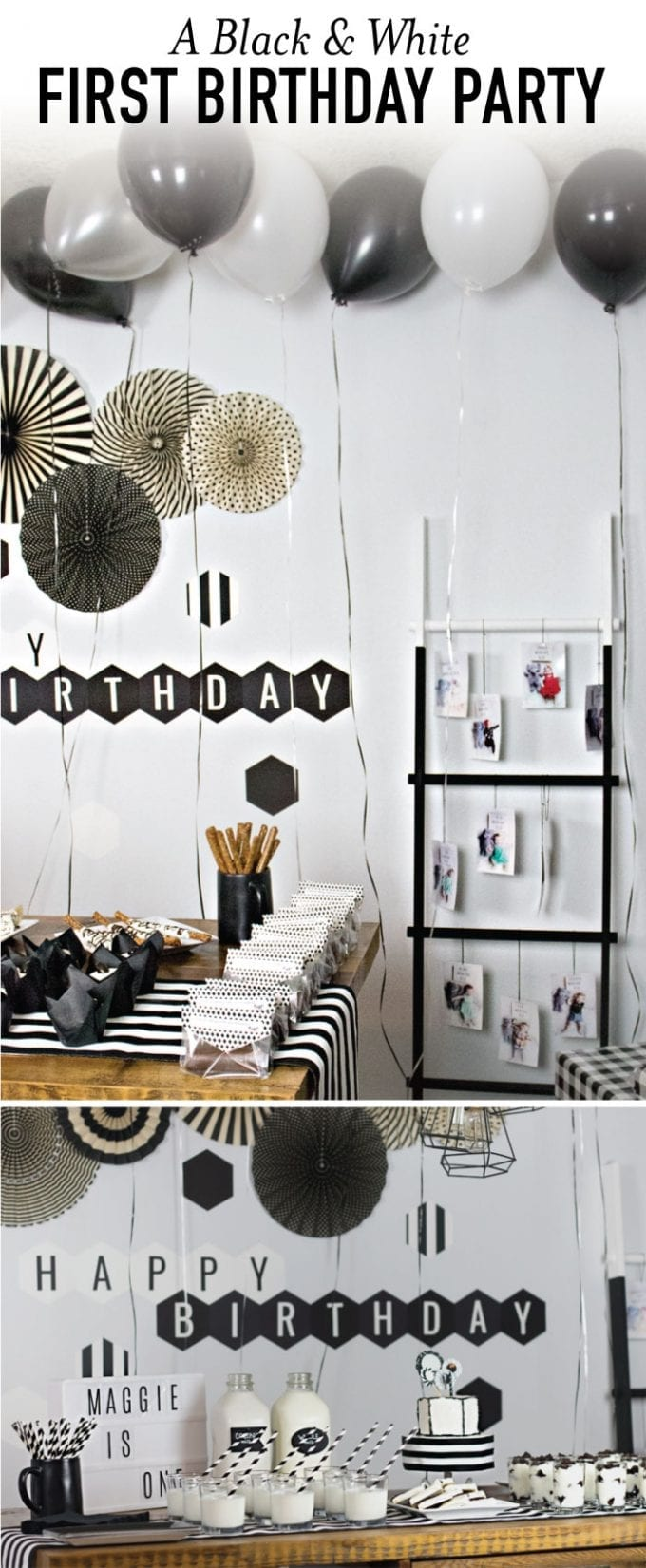 A black and white birthday party