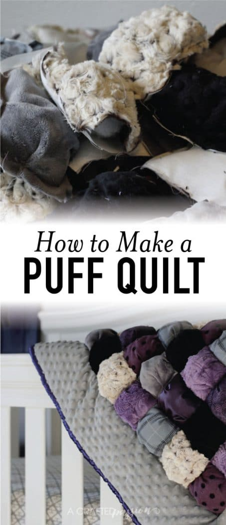 Puff quilt in shades of purple image.