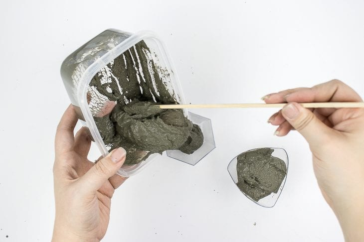 Pouring cement candle holder