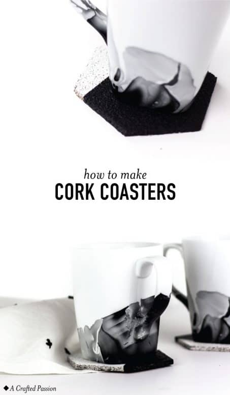 Make these homemade cork coasters to protect your table. This modern geometric design can fit any style with a different cut or color. #diy #coaster