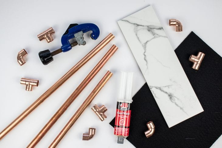 Image of supplies for diy pipe shelves