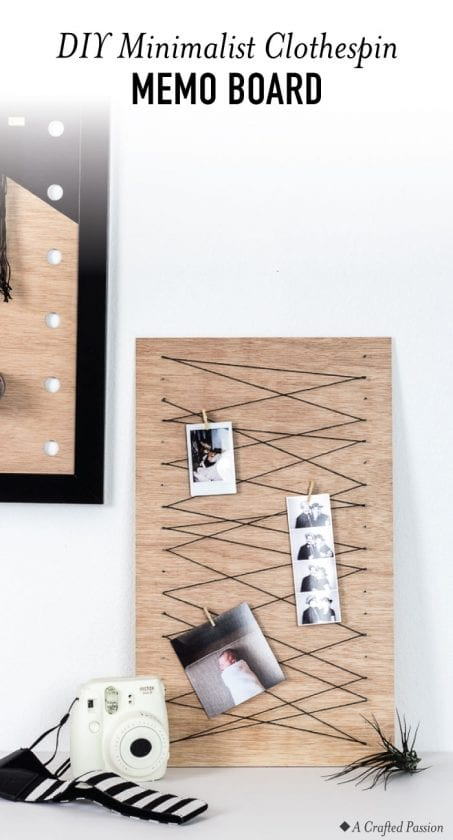 Create a simple clothespin memo board to keep important notes or display your favorite pictures with this easy DIY idea.#diy #office #organize