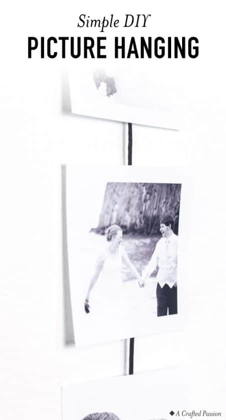 Create this simple pictures wall hanging using just a few items to show off some of your favorite photos.#diy #homedecor