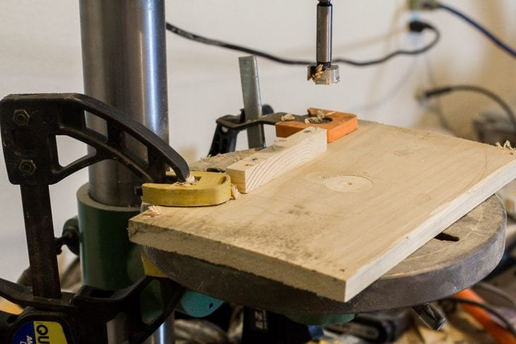 Image of drill press for wood blanket ladder