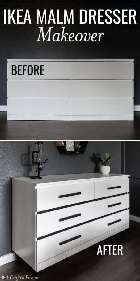 Makeover a simple IKEA Malm dresser into a modern dresser perfect for your bedroom. This before and after is incredible and so easy! #diy #homedecor #ikea