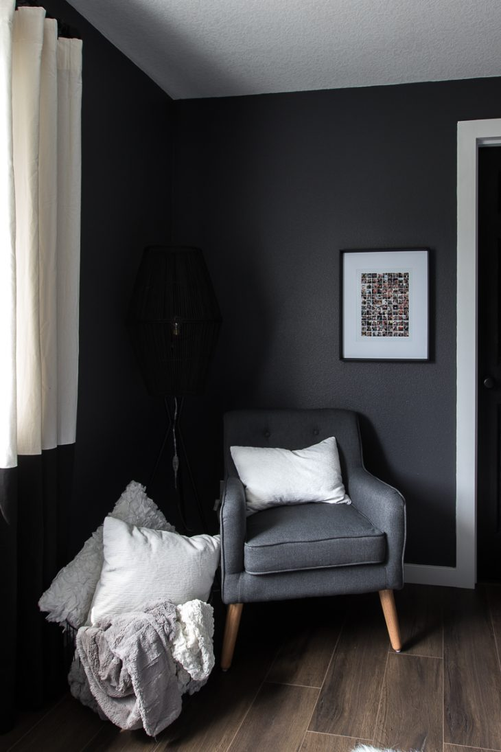 Modern tufted chair and Opal House Light