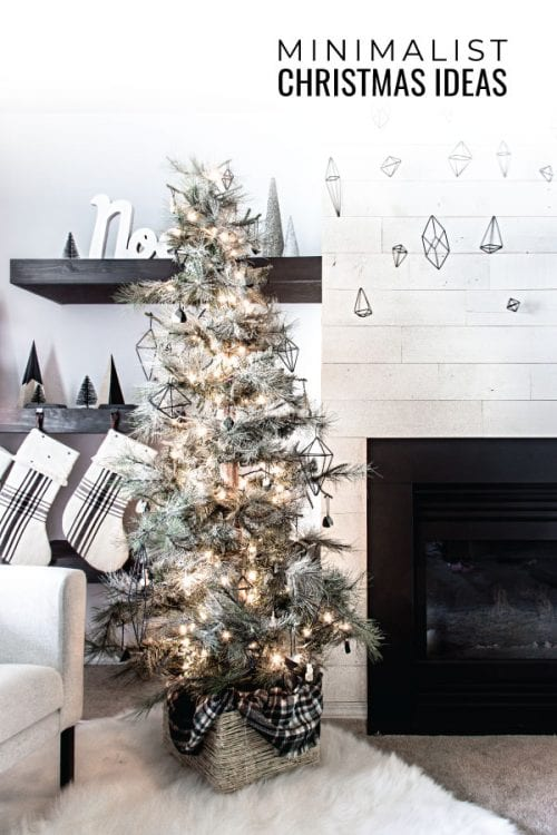 This minimalist Christmas tree is so simple and modern with the himmeli ornaments, geometric shapes, and limited materials. Love these decor ideas! #minimalist #christmasdecor #christmastree #modernhome