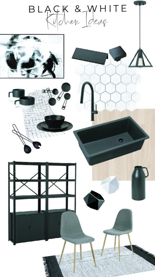 Mood board with black and white kitchen decor