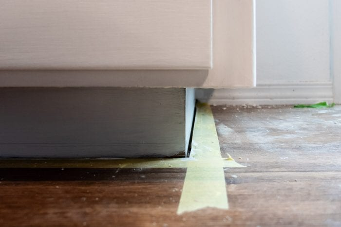 Cabinet corners with paint tape