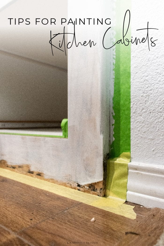 Caulking the kitchen cabinet with text overlay Tips for Painting Kitchen Cabinets.